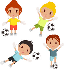 set of soccer players and balls on a white background