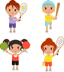 tennis players and baseball on a white background