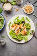 Chicken salad with green mix salad leaves served in plate on gray stone table, top view. Healthy food and diet eating concept