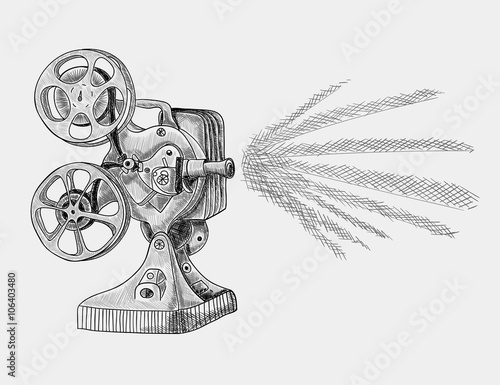 Old movie projector  Black and white sketch illustration