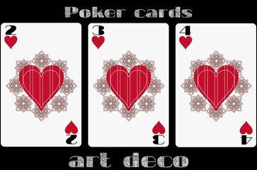 Poker playing card. 2 heart. 3 heart. 4 heart. Poker cards in the art deco style. Standard size card.