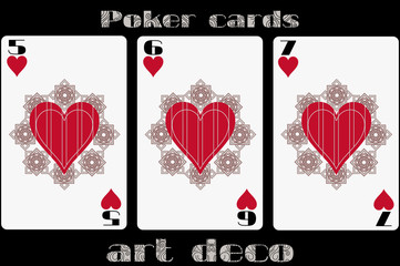 Poker playing card. 5 heart. 6 heart. 7 heart. Poker cards in the art deco style. Standard size card.