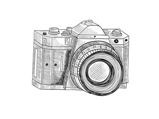 Retro camera. Sketch illustration on white isolated background