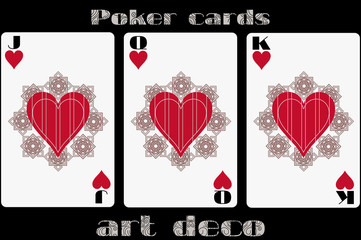 Poker playing card. Jack heart. Queen heart. King heart. Poker cards in the art deco style. Standard size card.