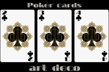 Poker playing card. 2 clubs. 3 clubs. 4 clubs. Poker cards in the art deco style. Standard size card.