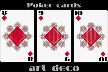 Poker playing card. 8 diamond. 9 diamond. 10 diamond. Poker cards in the art deco style. Standard size card.