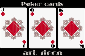 Poker playing card. Jack diamond. Queen diamond. King diamond. Poker cards in the art deco style. Standard size card.