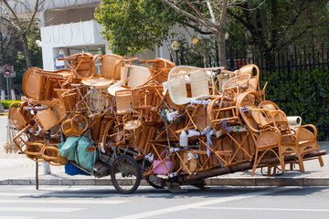 Overloaded chinese transport cart
