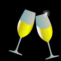 Бокалы шампанского, шампанское