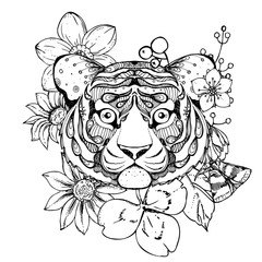 hand drawn ink doodle tiger and flowers on white background. Coloring page - zendala, design forr adults, poster, print, t-shirt, invitation, banners, flyers.