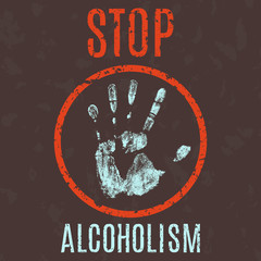 Vector illustration. stop alcoholism