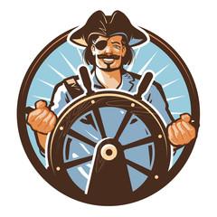 Pirate ship vector logo. Jolly Roger, journey or corsair icon
