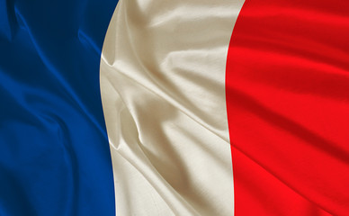 French flag on the white background with space for text