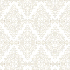 Vector Vintage Damask Pattern ornament in Eastern style. Ornate floral element for fabric, textile, design, wedding invitations, greeting cards. Traditional oriental motif element outline decor