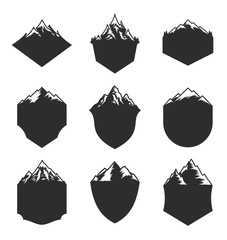 Vector Mountain Blank Badges Isolated on White