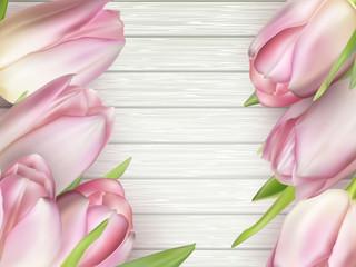 Beautiful pink tulips. EPS 10