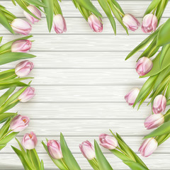 Frame of pink tulips. EPS 10