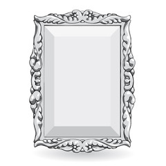 silver vintage frame isolate on white background