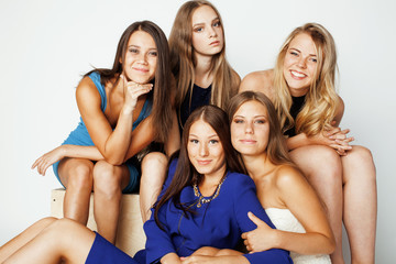 many girlfriends hugging celebration on white background, smiling talking chat, girl next door close up wondering sweety group