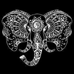 Vector abstract elephant in Indian style mehndi