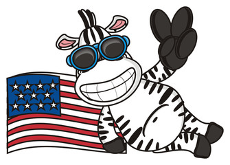 gestures, fingers, victory, glasses, sunglasses, grimace, teeth, flag, America, patriot, American, nation, U.S.A., zebra, horse, fun, cartoon, toy, zoo, isolated, striped