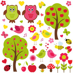 Vector set of nature. Love birds, trees with fruit, flowers and various insects.