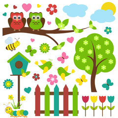Vector set of spring theme. Birds sitting on blooming tree, among flowers and insects.