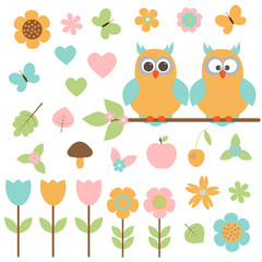 Vector set of nature. Owls sitting on a branch, among the plants and butterflies.