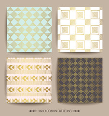 Set of Creative Patterns with Hand Drawn Textures. Geometric print. ethnic hipster backdrop. Patterns for Placards, Posters, Flyers and Banner Designs.