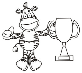 grimace, teeth, cup, champion, zebra, horse, fun, cartoon, toy, zoo, isolated, striped, coloring, line, preschool, game, sports, championship, field, ball, cup, football boots, football, soccer