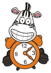grimace, teeth, zebra, horse, fun, cartoon, toy, zoo, isolated, striped, alarm clock, morning, evening, bed, bell, wake up, wake up, time to go, arrows, numbers