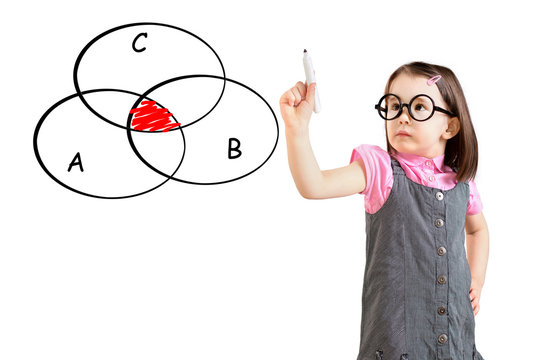 Cute little girl wearing business dress and drawing intersected circle diagram on whiteboard. White background.