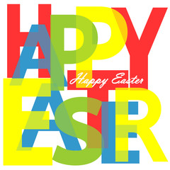Happy Easter, transparent letters, typography text, spring holidays