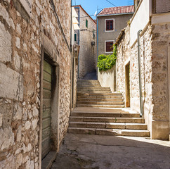 Narrow streets of the mediterranean city. Croatia.