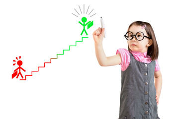 Cute little girl wearing business dress and drawing a career ladder concept. White background.