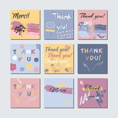 Thank You Card Set. Artistic Templates. Creative Hand Drawn Desi