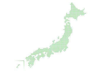日本地図 ドット イラスト グリーン グラデーション