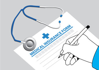 doctor fill in the medical insurance form with stethoscope on the table. vector illustration