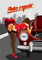 Woman in stockings  repairing the red car. Retro vector style illustration