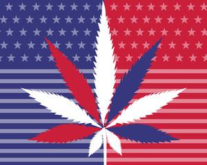 US Flag Cannabis Leaf, Cannabis Patriot, Red White and Blue Cannabis Leaf, Legalize Pot