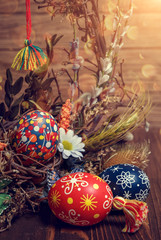 Easter egg on background festive  wreath