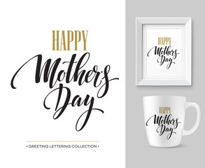 Mothers Day hand lettering collection. Mock-up design template. Vector illustration