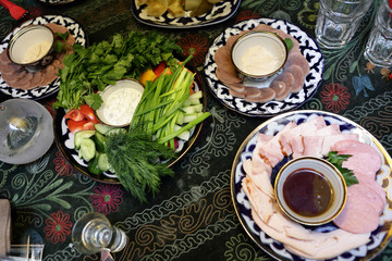 Various appetizers on a table