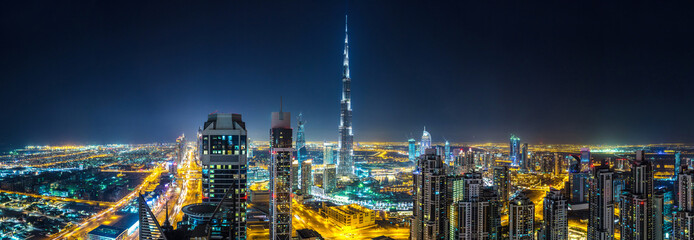 Panorama of Dubai at night