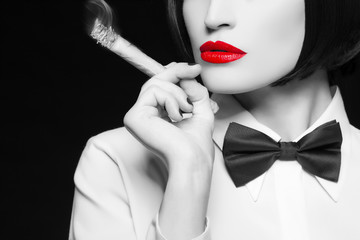 Mafia woman with selective coloring