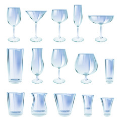 Alcohol drinks glasses set vector illustration.