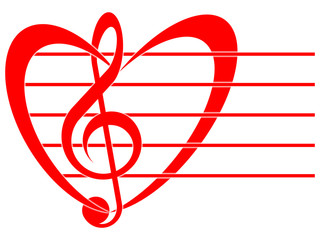 Treble clef and symbol of the heart