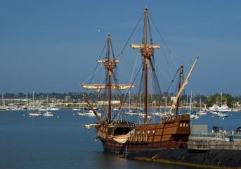 SAN DIEGO, California, USA - March 13, 2016: San Diego Maritime Museum in San Diego harbour, USA