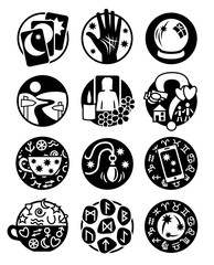 Twelve symbols showing different methods of clairvoyance, psychic reading and fortune telling in black