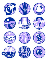 Twelve symbols showing different methods of clairvoyance, psychic reading and fortune telling in colours purple and blue